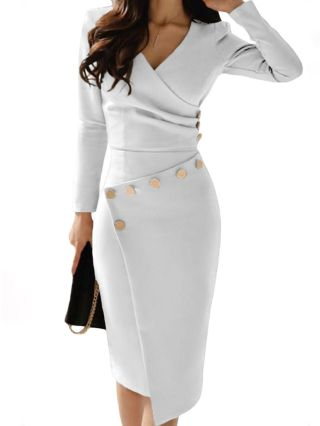 Long Sleeve V-Neck Draped Buttons Irregular Evening Midi Dress