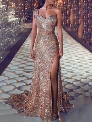 Sexy One Shoulder Sleeveless Gilt Maxi Split Floor Length Evening Dress