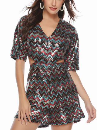 Colorful Gradient Sequins Half-sleeve V-Neck Hollow Rompers