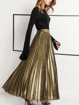 Spring and Summer Pleated High Waist Beach Holiday Long Swing Skirt