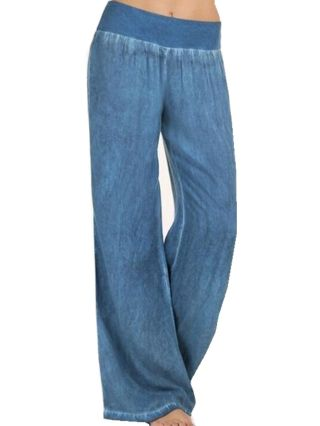Women Low Waist Loose Casual Jeans Wide Leg Elastic Waist Long Pants