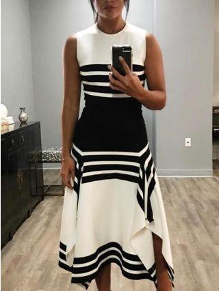 Sleeveless Round Neck White Black Striped Stitching Irregular Casual Dress