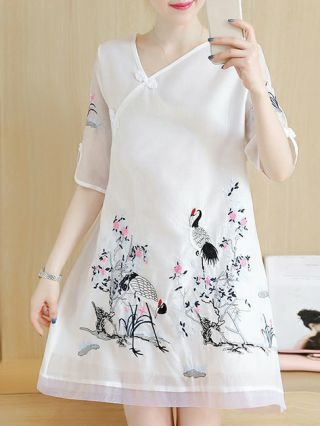 Plus Size Dresses Embroidery Loose Vintage Chic Slim Comfortable Summer Dress