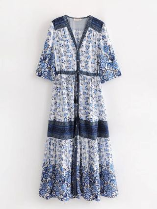 New Bohemian Buttoned Printed V-neck Chic Summer Dresses With Short Sleeve