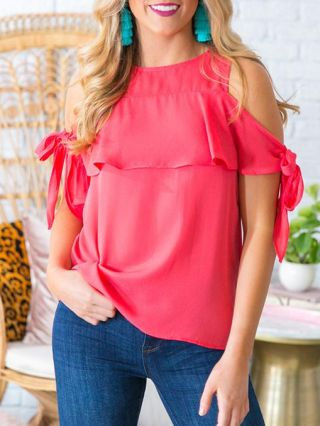 Ruffled T-shirts Sexy Cold Shoulder Bandage Plus Size Woman's Chic Tops