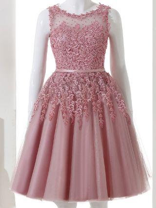 Sweet Lace Gauze Bead Sleeveless Elegant Wedding Prom Dresses