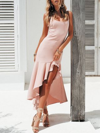 Irregular Sexy Backless Ruffled Strap High-low Bodycon Summer Dresses