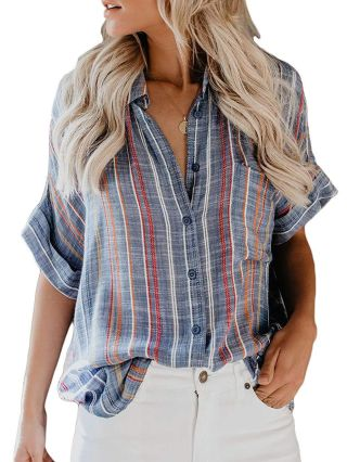 Chic Striped Blouse Buttoned Short Sleeve Loose Woman's Tops With Pockets