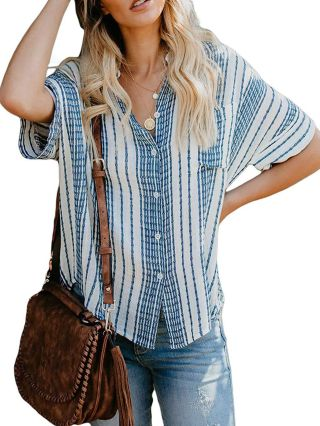 Fashion Striped Shirt Blouse Short Sleeve Buttoned Loose Tops For Woman With Pockets
