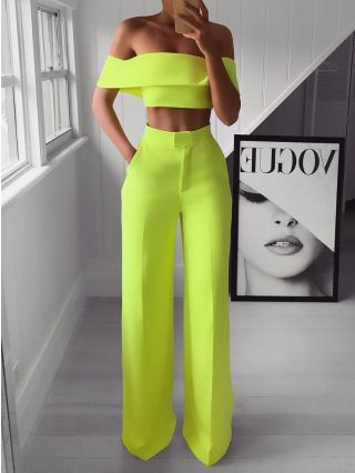 Sexy Off Shoulder Crop Top Long Pants Fashionable Outfits For Woman