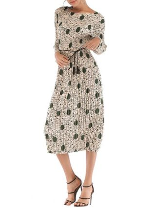 Pleated Dot Printed Chic Chiffon Slim Dresses With Long Sleeve