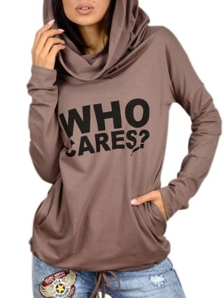 Hooded Letter Printed Long Sleeve Woman's Sweatshirt With Pockets