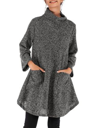 Knitting High Neck Ruffled Casual Fall Winter Pullover Coat For Woman