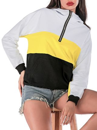 Fashion Hoodie Sweatshirts Zipper In Front Loose Patchwork Tops With Pockets