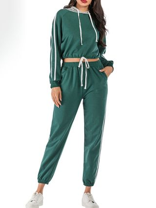 Casual Two Pieces Clothing Set For Woman Stripe Hooded Sweatshirt Pants Outfit