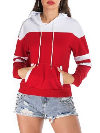 Red White Chic Fall Winter Loose Hooded Sweatshirts With Pockets For Women