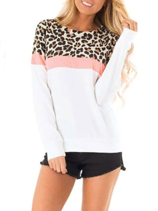 Woman's Fall Winter Leopard Print Camouflage Fashion T-shirts Tops