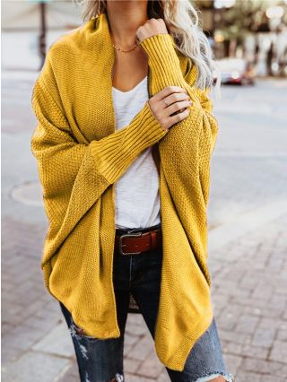 Fashion Knitting Cardigans For Woman Winter Autumn Tops With Bat Sleeve