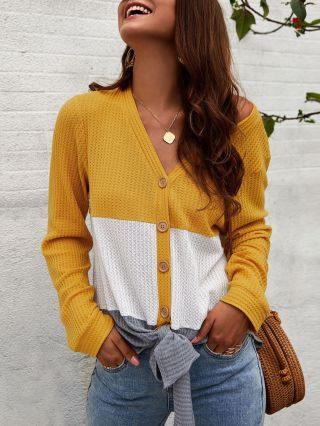 Fashion Cardigan Buttoned Knitting V-neck Fall Winter Sweater Woman's Tops
