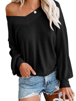 New Knitting Waffle Plaid T-shirts V-neck Fall Winter Casual Tops For Woman