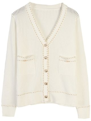 New Fall Cardigans Cut Out Knitting Casual V-neck Woman's Buttoned Tops