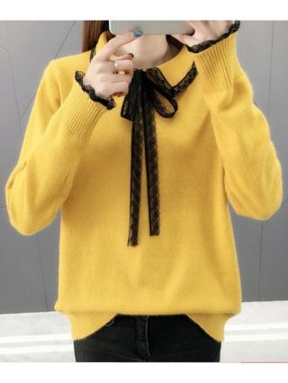 Sweet Knitting Sweaters Fashion Lace Bow Knot Casual Fall Winter Tops