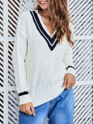V-neck Woman's Sweaters Cut Out Casual Knitting Fall Winter Top