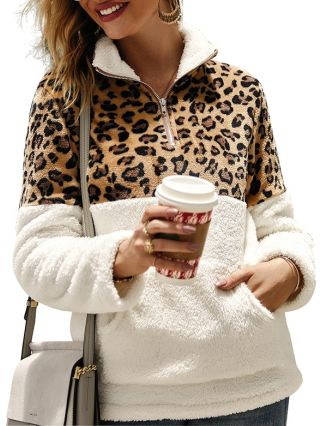 Fashion Sweatshirt For Woman Leopard Print Fluffy Fall Winter Tops With Pockets