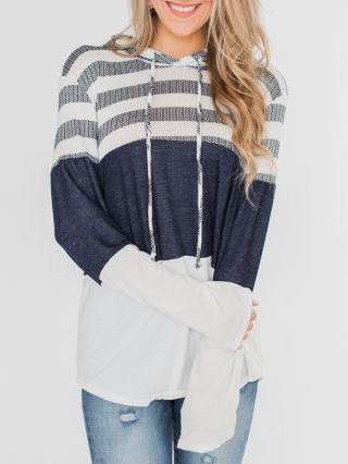 Striped Sweatshirt Casual Hooded Fall Spring Wear Tops For Woman