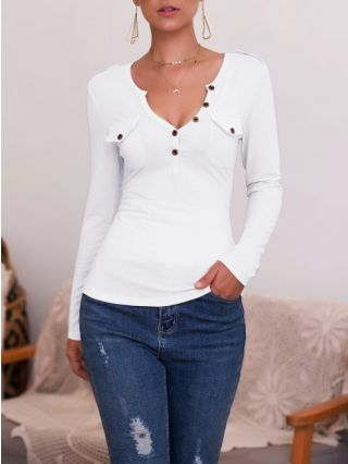 Sexy V-neck T-shirt For Woman Buttoned Plus Size Fall Winter Tops