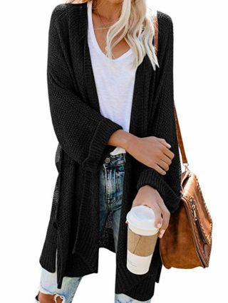 New Knitting Casual Cardigan Fall Winter Side Split Tops For Woman