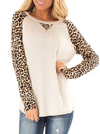 Fashion T-shirts For Woman Leopard Print Camouflage Fall Winter Comfortable Tops