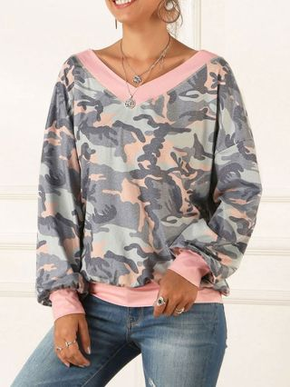 Casual T-shirts Camouflage Leopard Printed V-neck Fall Tops With Lantern Sleeve