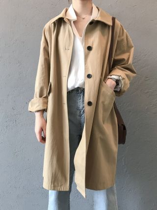 New Korean Buttoned Fall Slim Casual Coats With Pockets For Woman