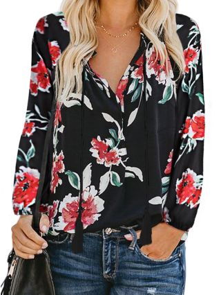 Fashion V-neck T-shirts For Woman Floral Printed Draw-string Tassel Plus Size Top For Woman