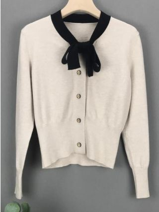 Korean Bowknot Cardigan Knitting Autumn Winter Buttoned Tops For Woman