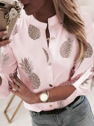 Casual Blouse For Woman Pineapple Printed Fall Shirts Fashion Tops