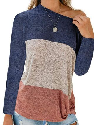 Casual T-shirts For Woman Striped Loose Twisted Fall Winter Tops