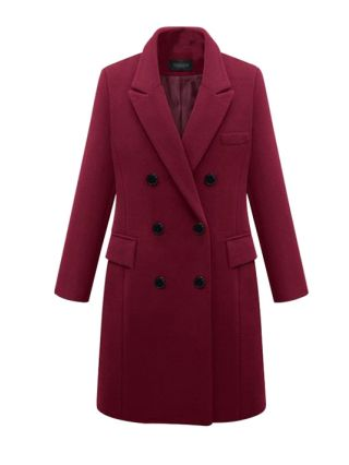 Plus Size Fall Winter Casual Buttoned Coats With Pockets For Woman