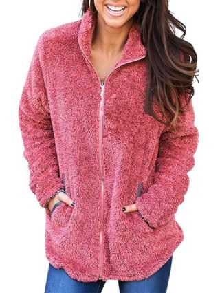 Fluffy Jackets Zipper In Front Fall Winter Warm Tops With Pockets For Woman