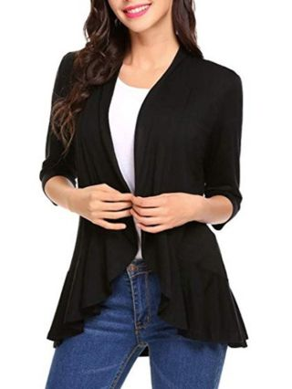 Fashion Ruffled Cardigans For Woman Fall Spring Tops With Seven-quarter Sleeve