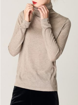Fall Winter Turtleneck Sweater For Woman Casual Slim Warm Knitting Tops