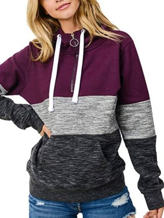 Fall Winter New Women Stitching Color Zipper Casual Hoodies