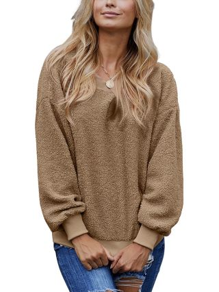 Fall and Winter New Solid Round Neck Long Sleeve Loose Casual Sweater