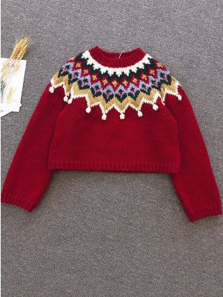Fall Winter Christmas Sweaters Vintage Pullover Knitting Fashion Woman's Tops