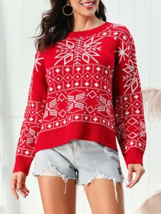 New 2020 Christmas Sweaters Fall Winter Snowflakes Knitting Tops For Woman