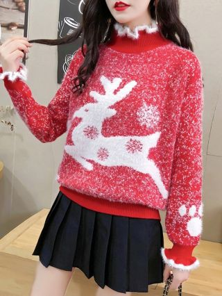 2020 New Christmas Sweaters Fairy Elk Knitting Winter Autumn Fluffy Tops For Woman