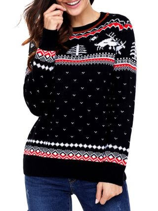 New Christmas Sweaters Fashion Pullover Fall Winter Printed Woman's Tops