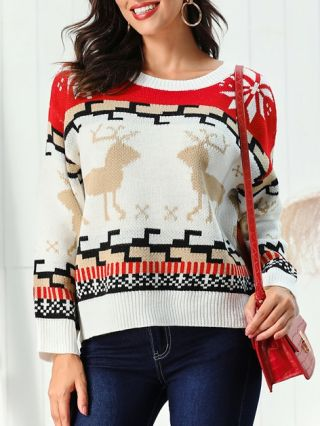 2020 New Christmas Sweaters For Woman Elk Snowflakes Casual Pullover Winter Autumn Tops