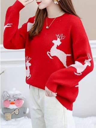 Fall Winter New Sweaters Christmas Knitting Elk Comfortable Warm Tops For Woman